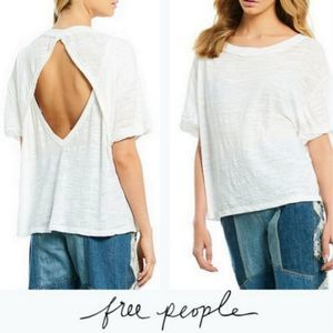 FREE PEOPLE S Viola Relaxed Boat Neck T WHITE NWT